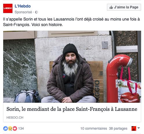 Capture d'écran du post sponsorisé de l'Hebdo sur Sorin