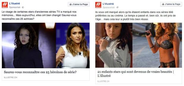Deux captures d'écran de posts sponsorisés de l'Illustré, avec des galeries-photo avant/après d'actrices célèbres.