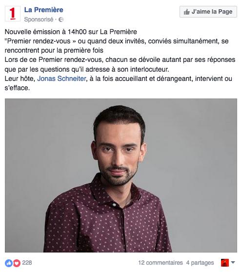 Promotion de la nouvelle émission de Jonas Schneiter sur Radio Television Suisse La 1ère, Premier rendez-vous.