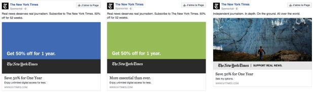 Captures d'écran des posts sponsorisés du New York Times