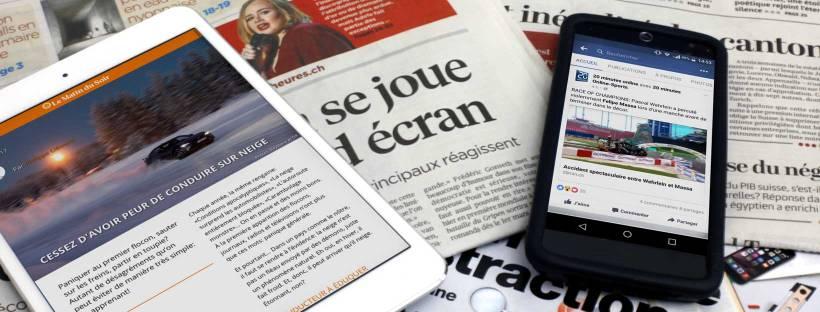 Une sélection de titres suisse romands dans des déclinaisons papier, iPad et smartphone