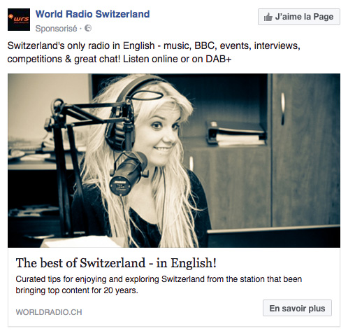 Post sponsorisé pour la radio anglophone World Radio Switzerland, avec l'animatrice et DJ Goldierocks en photo d'illustration.
