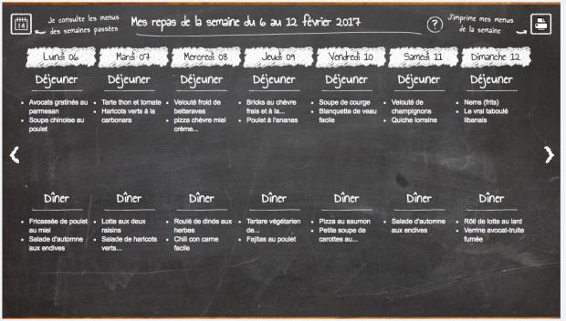 Tableau des menu Marmiton