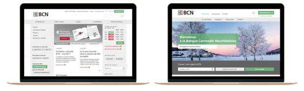 page d'accueil de la Banque Cantonale Neuchâteloise